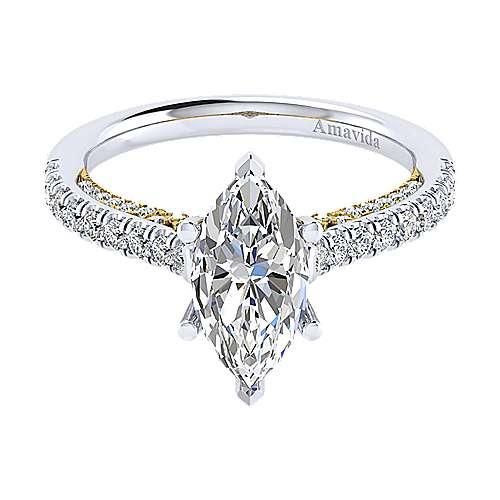 Gabriel - Ella 18k Yellow/white Gold Marquise  Straight Engagement Ring