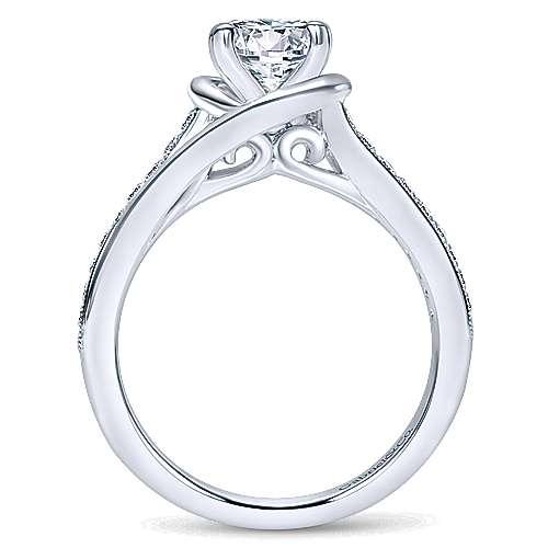 Ellaria 14k White Gold Round Bypass Engagement Ring