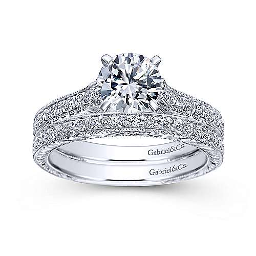 Elle 14k White Gold Round Straight Engagement Ring angle 4