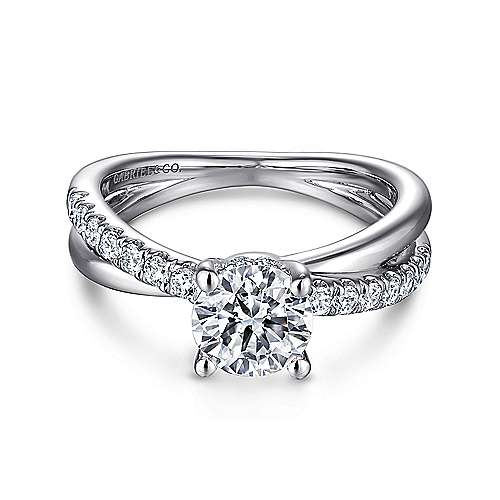 Gabriel - Elliana 14k White Gold Round Twisted Engagement Ring