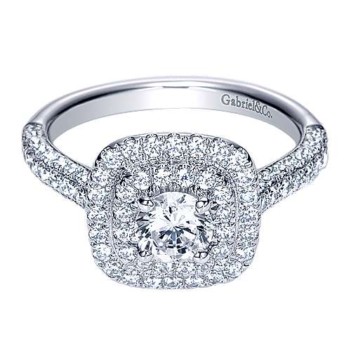 Ellie 14k White Gold Round Double Halo Engagement Ring angle 1