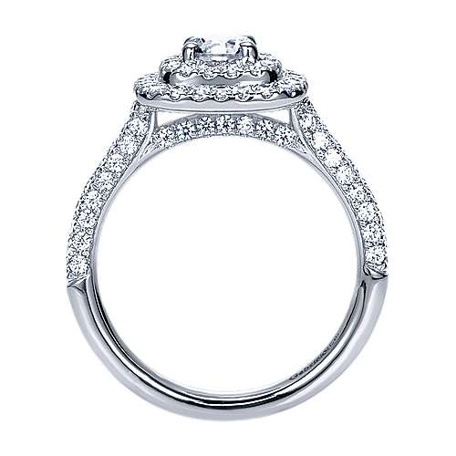 Ellie 14k White Gold Round Double Halo Engagement Ring angle 2