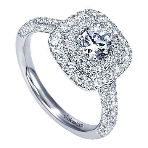 Ellie 14k White Gold Round Double Halo Engagement Ring angle 3