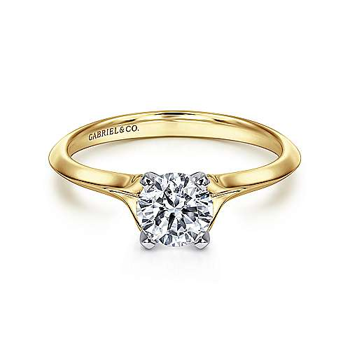 Gabriel - Ellis 14k Yellow And White Gold Round Solitaire Engagement Ring