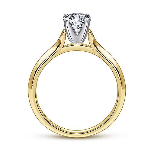Ellis 14k Yellow And White Gold Round Solitaire Engagement Ring