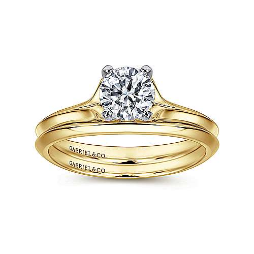 Ellis 14k Yellow And White Gold Round Solitaire Engagement Ring angle 4