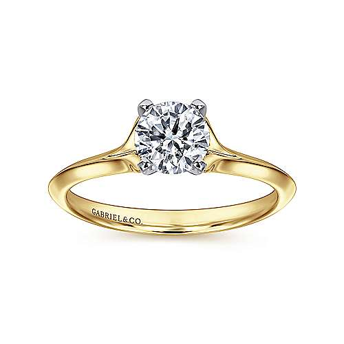 Ellis 14k Yellow And White Gold Round Solitaire Engagement Ring angle 5