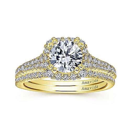 Elsa 18k Yellow Gold Round Halo Engagement Ring angle 4