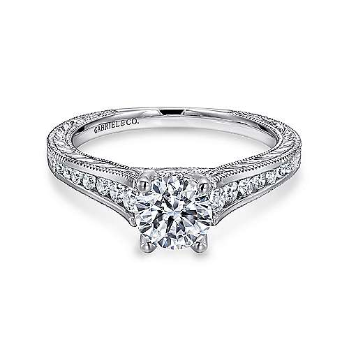 Gabriel - Elsie 14k White Gold Round Straight Engagement Ring