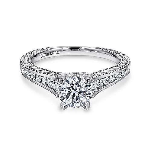 Gabriel - Elsie 14k White Gold Round Straight Engagement Ring