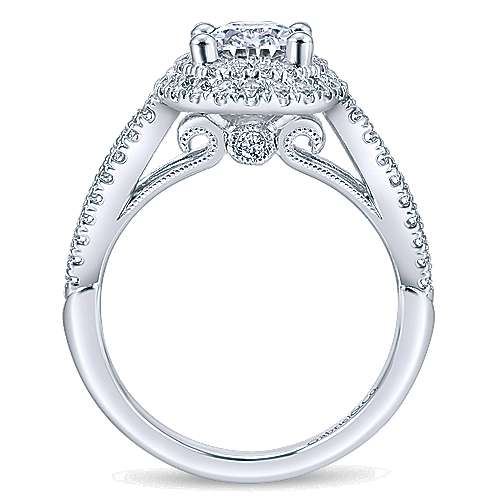 Elspeth 14k White Gold Oval Double Halo Engagement Ring angle 2