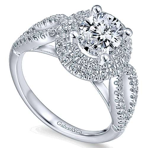 Elspeth 14k White Gold Oval Double Halo Engagement Ring angle 3