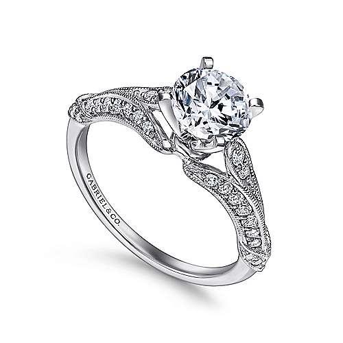 Elvira 18k White Gold Round Split Shank Engagement Ring angle 3