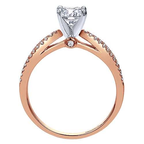 Elyse 14k Rose Gold Round Split Shank Engagement Ring angle 2