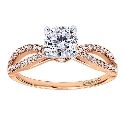 Elyse 14k Rose Gold Round Split Shank Engagement Ring angle 5