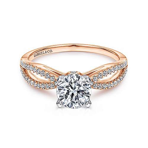 Gabriel - Elyse 14k White And Rose Gold Round Split Shank Engagement Ring