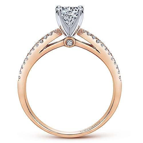 Elyse 14k White And Rose Gold Round Split Shank Engagement Ring angle 2