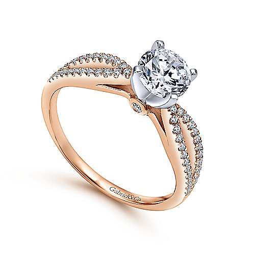 Elyse 14k White And Rose Gold Round Split Shank Engagement Ring angle 3