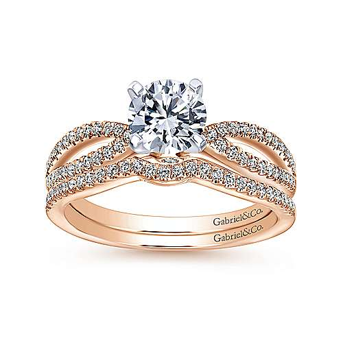 Elyse 14k White And Rose Gold Round Split Shank Engagement Ring angle 4
