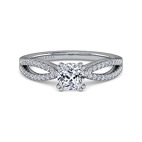 Gabriel - Elyse 14k White Gold Cushion Cut Split Shank Engagement Ring