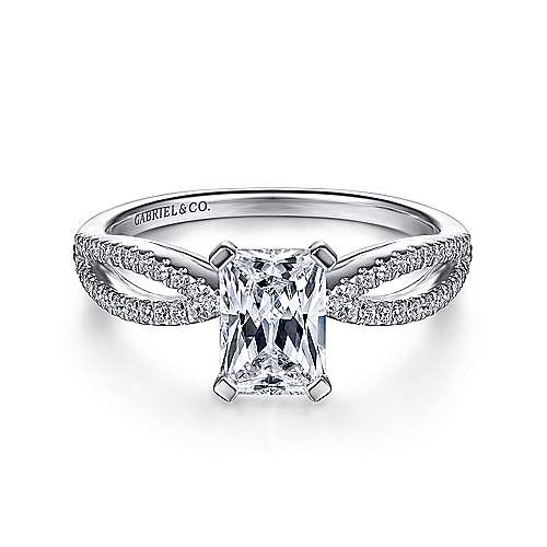 Gabriel - Elyse 14k White Gold Emerald Cut Split Shank Engagement Ring