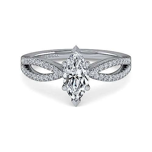 Gabriel - Elyse 14k White Gold Marquise  Split Shank Engagement Ring