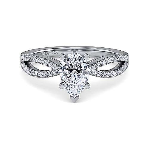Gabriel - Elyse 14k White Gold Pear Shape Split Shank Engagement Ring