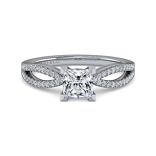 Gabriel - Elyse 14k White Gold Princess Cut Split Shank Engagement Ring