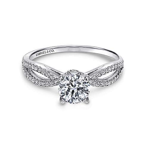 Elyse 14k White Gold Round Split Shank Engagement Ring angle 1