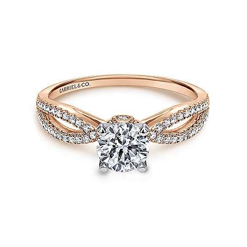 Gabriel - Elyse 14k White/pink Gold Round Split Shank Engagement Ring