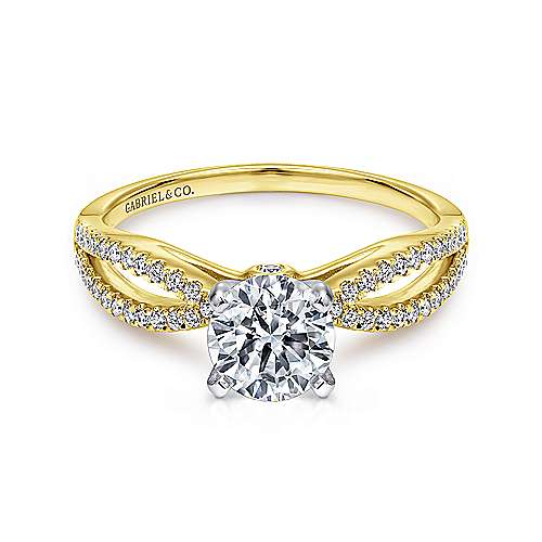 Gabriel - Elyse 14k Yellow And White Gold Round Split Shank Engagement Ring