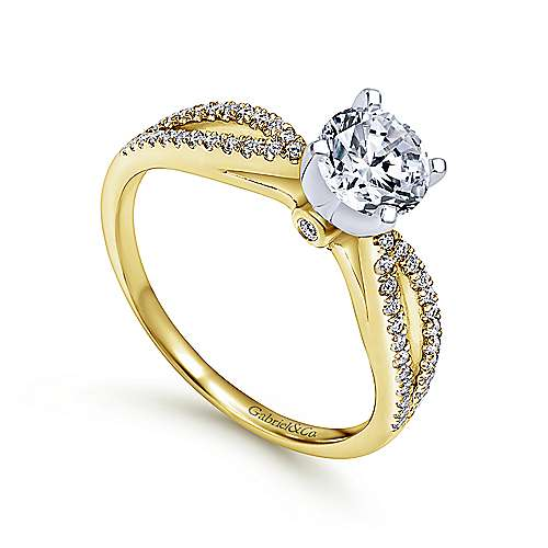 Elyse 14k Yellow And White Gold Round Split Shank Engagement Ring angle 3