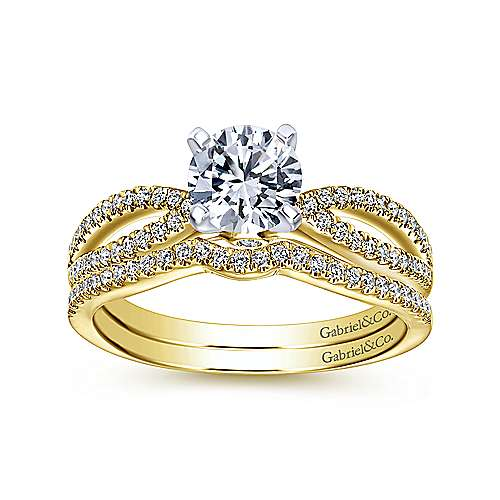 Elyse 14k Yellow And White Gold Round Split Shank Engagement Ring angle 4