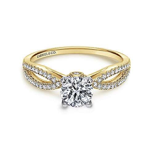 Gabriel - Elyse 14k Yellow/white Gold Round Split Shank Engagement Ring