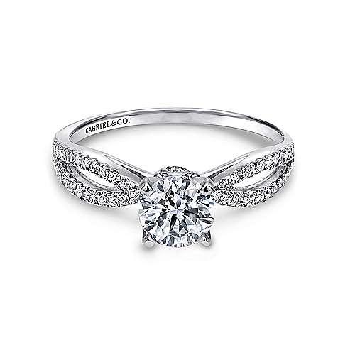 Gabriel - Elyse Platinum Round Split Shank Engagement Ring