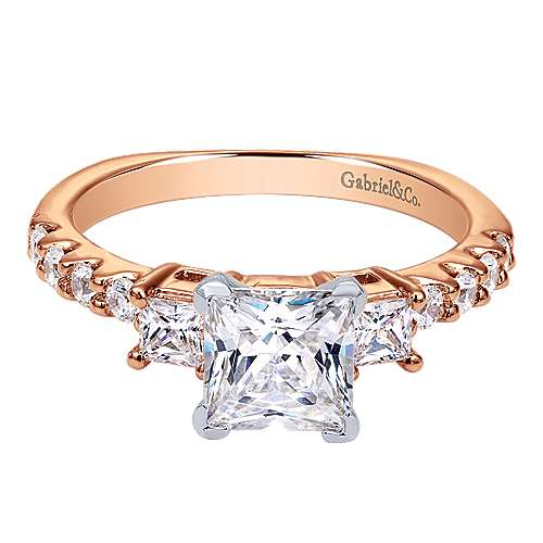 Gabriel - Emerson 14k Pink Gold Princess Cut 3 Stones Engagement Ring