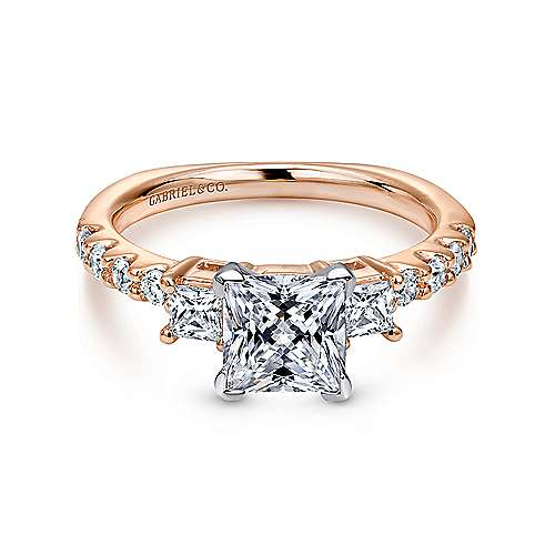 Gabriel - Emerson 14k White And Rose Gold Princess Cut 3 Stones Engagement Ring