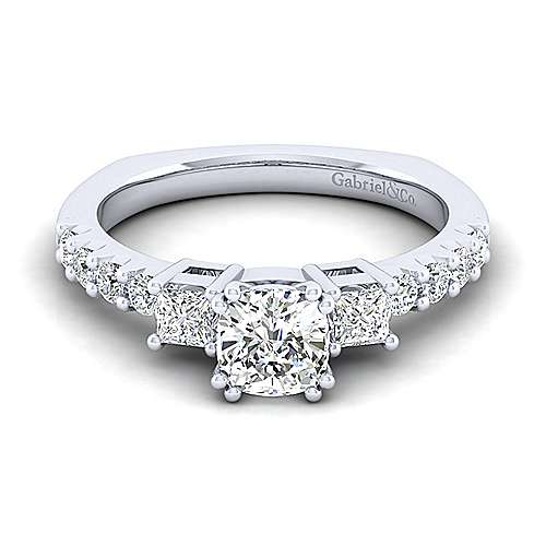 Gabriel - Emerson 14k White Gold Cushion Cut 3 Stones Engagement Ring