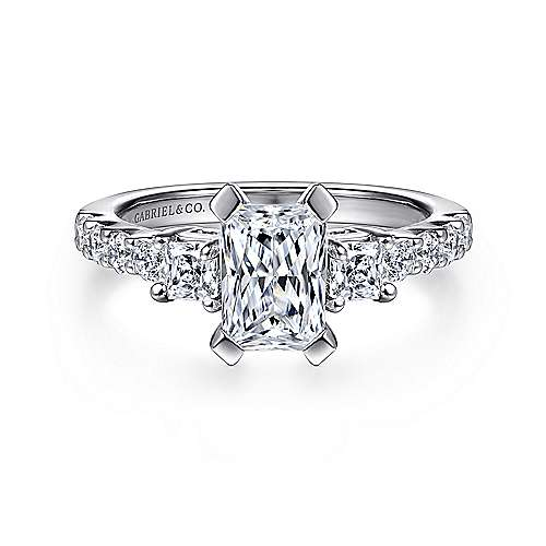 Gabriel - Emerson 14k White Gold Emerald Cut 3 Stones Engagement Ring