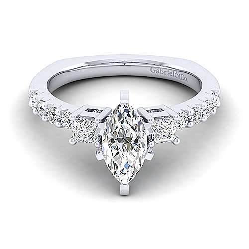 Gabriel - Emerson 14k White Gold Marquise  3 Stones Engagement Ring