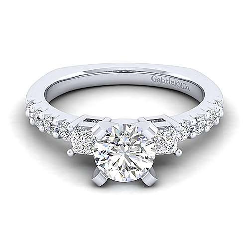 Gabriel - Emerson 14k White Gold Round 3 Stones Engagement Ring
