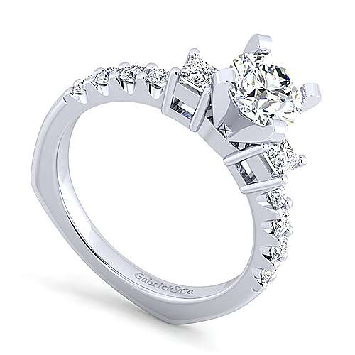 Emerson 14k White Gold Round 3 Stones Engagement Ring angle 3