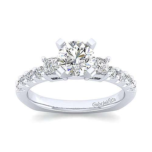 Emerson 14k White Gold Round 3 Stones Engagement Ring angle 5