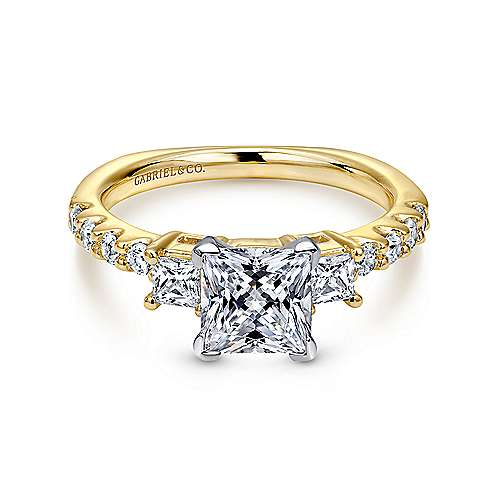 Gabriel - Emerson 14k Yellow And White Gold Princess Cut 3 Stones Engagement Ring