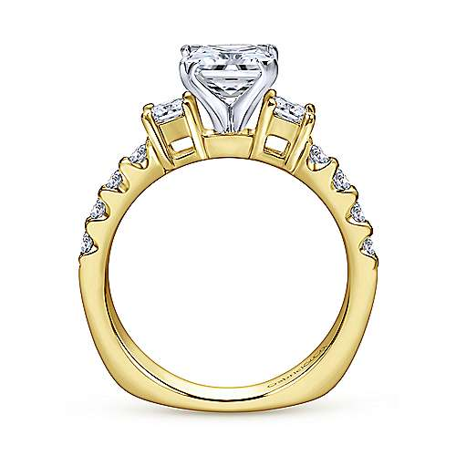 Emerson 14k Yellow And White Gold Princess Cut 3 Stones Engagement Ring angle 2