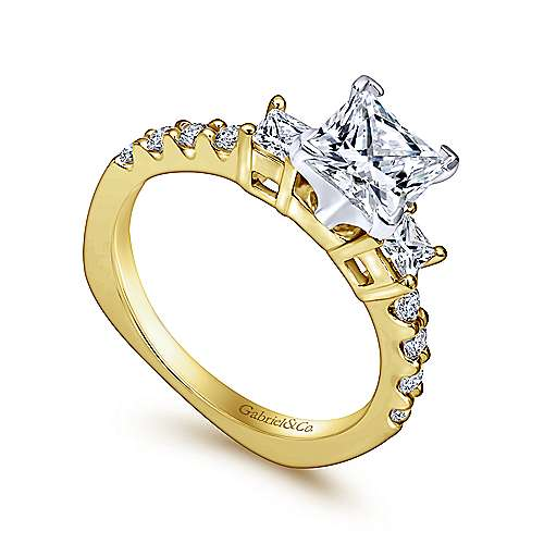 Emerson 14k Yellow And White Gold Princess Cut 3 Stones Engagement Ring angle 3