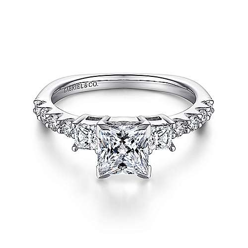 Gabriel - Emerson Platinum Princess Cut 3 Stones Engagement Ring