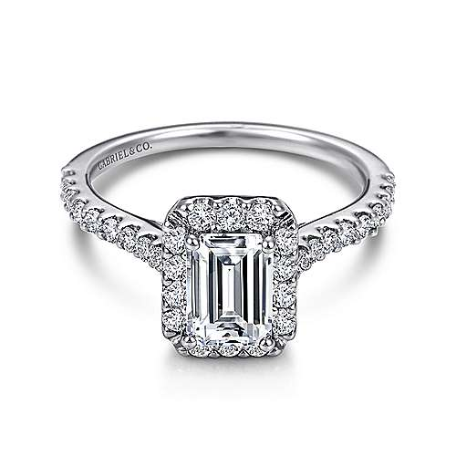 Emery 14k White Gold Emerald Cut Halo Engagement Ring angle 1