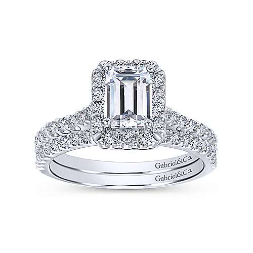 Emery 14k White Gold Emerald Cut Halo Engagement Ring angle 4
