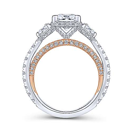 Emily 18k White And Rose Gold Princess Cut 3 Stones Halo Engagement Ring angle 2